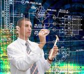 Engineering designing communication.Engineer — Stock Photo
