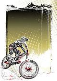 Mountain bike poster background — Stock Vector