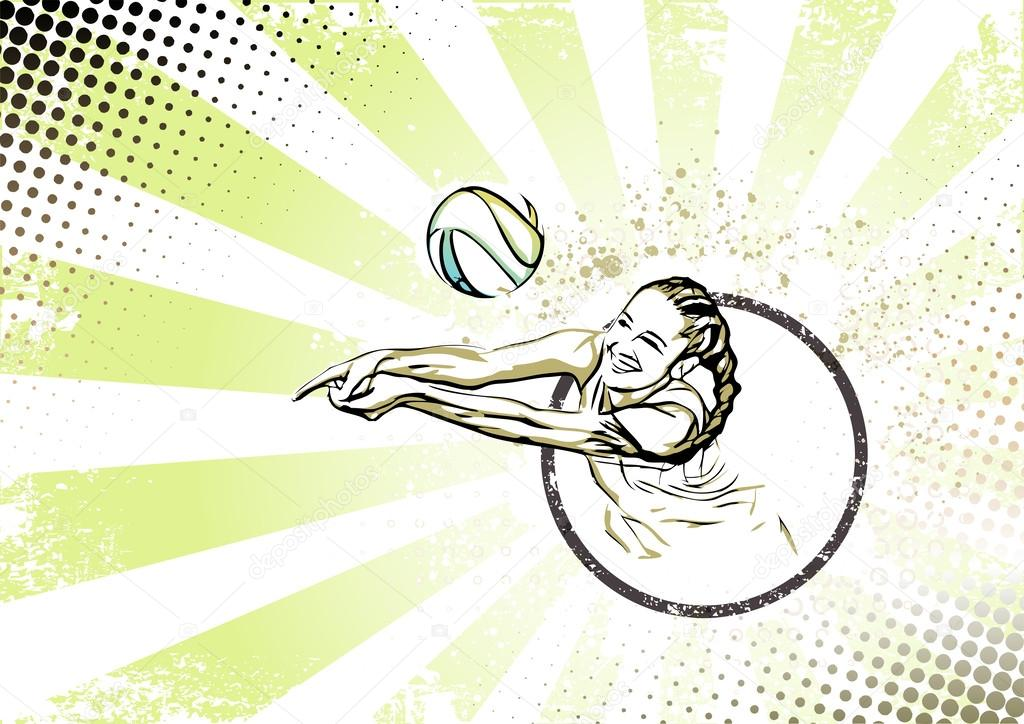 Beach Volleyball Poster Beach Volleyball Player Vector