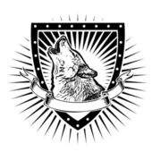 Wolf shield — Stock Vector
