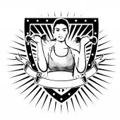 Fitness woman shield — Stockvektor