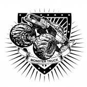 Monster truck shield — Stock Vector