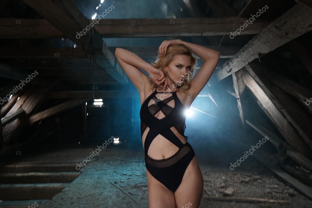hot women posing in abandoned buildings