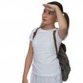 Young girl watching something in the air — Stock Photo