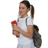 Young schoolgirl grimacing as she leaves for class — ストック写真