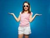 Beautiful Young Girl in Shades Cool Pose — Stock Photo