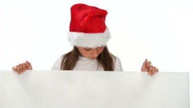 Happy young girl singing Christmas carols — Stock Video
