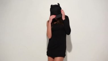 Sensual Woman in Black Underwear and Bonnet — Stock Video