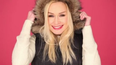 Pretty Woman in Fashion with Furry Hood — Stock Video