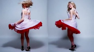 Young Woman Wearing Dress in Different Movements — Stock Video