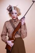 Fashionable Girl Scout Holding Rifle — Stock Photo