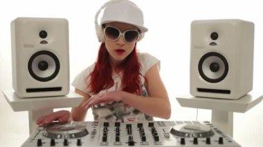 Happy Female Disc Jockey Mixing Music — Stock Video