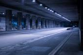 Covered Street Illuminated at Night — Stock Photo