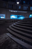 Set of curved urban steps at night — Stock Photo