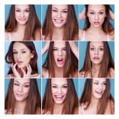 Set of nine different expressions on a pretty girl — Stock Photo