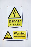 High voltage warning for 415 volts — Stock Photo