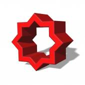 3d red empty star shape made of two joint squares — Stock Photo