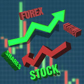 Growth and reduction related to forex and shares — Stockfoto