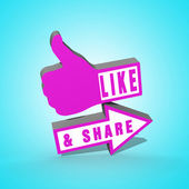 Like and Share Thumbs Up — Stock Photo