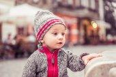 Happy little baby boy wearing hat — Stock Photo