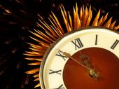 Dial of hours on a golden firework background.Eve of new year. — Stock Photo