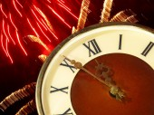 Clock face and bright firework.Eve of new year. — Stock Photo
