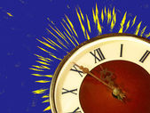 Eve of new year.Dial of hours and fireworks on blue background. — Stock Photo