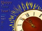 Eve of new year.Clock face and yellow firework on blue backgroun — Stock Photo