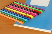 Blue writing book and multicolored pens. — Stock Photo