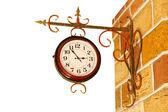 Vintage watch on yellow brick wall. — ストック写真