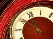 Vintage clock face taken closeup on twirl abstract background. — Stockfoto