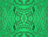 Green symmetrical electronic microcircuit taken closeup. — Foto Stock