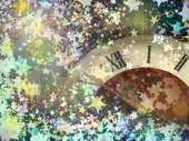 Clock face on multicolored shining stars background. — Stock Photo
