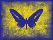 Blue butterfly silhouette on grunge yellow background. — Stock Photo