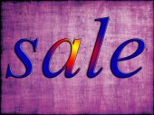 Blue sale tag on purple wooden background. — Stock Photo