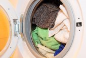 Clothes in washing machine. — Stock Photo