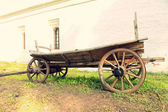 Vintage old wooden cart.Toned image. — Stock Photo