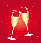 Champagne toast cups on a red starry background. — Stock Vector
