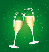 Champagne toast cups on a green  starry night. — Vettoriale Stock