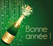 Bonne année 2015 ! Carte de voeux Champagne verte et or. — Stock Vector