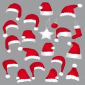 Santa caps and christmas decorations. Vector icons set. — Stock Vector
