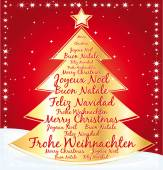 Gold christmas tree greeting card with best wishes in several languages. — Stock Vector