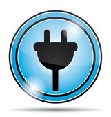Electrical socket blue icon button. — Stock Vector