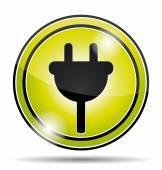 Electrical socket green icon button. — Stock Vector