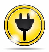 Electrical socket yellow icon button. — Stock Vector