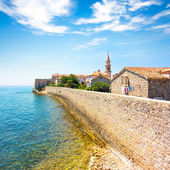 View of Budva Old Town Citadel and Blue Sea — Stock Photo