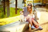 Smiling Hipster Girl with her Dog and Bike — 图库照片