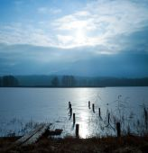 Winter Landscape with Frozen Lake — Stock Photo