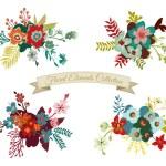 Старинные цветочные элементы коллекции — Cтоковый вектор #72513261