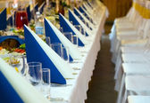 Table prepared for wedding banquet — Stock Photo